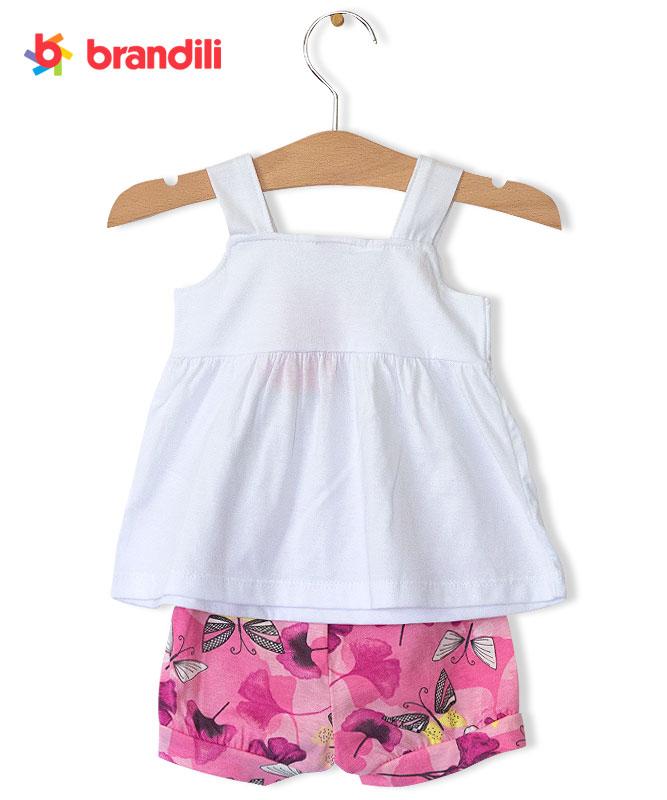 【BRANDILI】女の子ベビードレス&ショートパンツセット【かわいい・上下セット】ちょうちょ ホワイト×ピンク