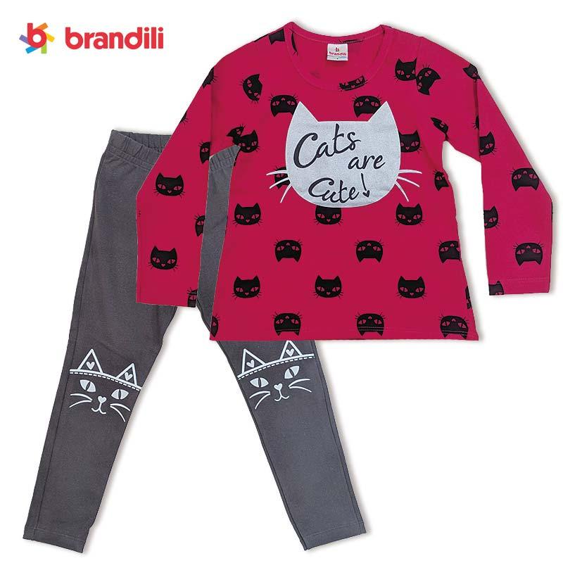 ■30% OFF■ 【BRANDILI】女の子長袖Tシャツ&レギンス お出かけ・上下セット | マゼンダ×チャコール