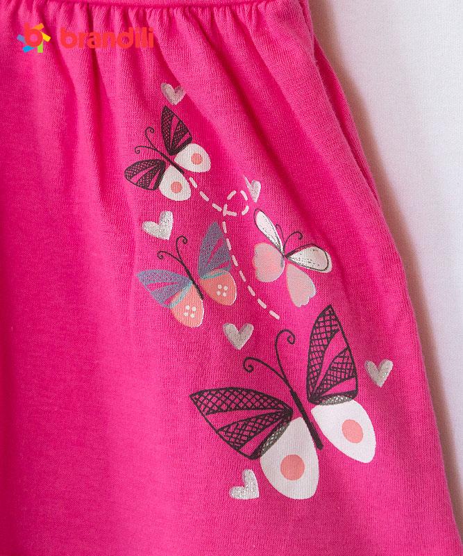 ■30%OFF■【BRANDILI】女の子ベビードレス&ショートパンツセット【かわいい・上下セット】ちょうちょ|ピンク×オフホワイト