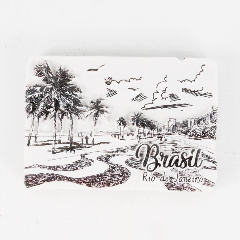 ブラジルマグネット コパカバーナビーチ モノクロデザイン スクエア