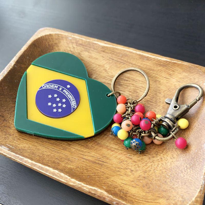 ハート型ブラジル国旗チャームキーホルダー MUNNY by Malagueta