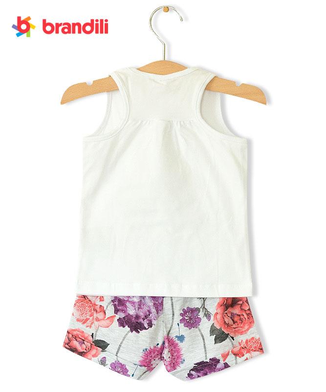 ■30%OFF■【BRANDILI】女の子タンクトップ&ショートパンツセット【花柄・ロゴ】hiフローラル ホワイト×ライトグレー