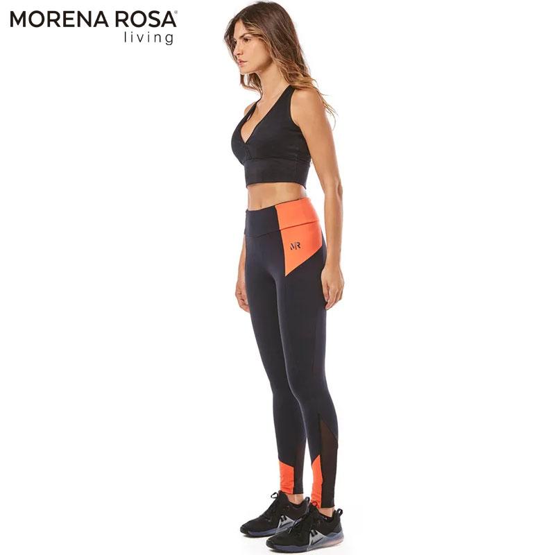 【Morena Rosa Living】切り替えバイカラーレギンス ポケット付 ブラック