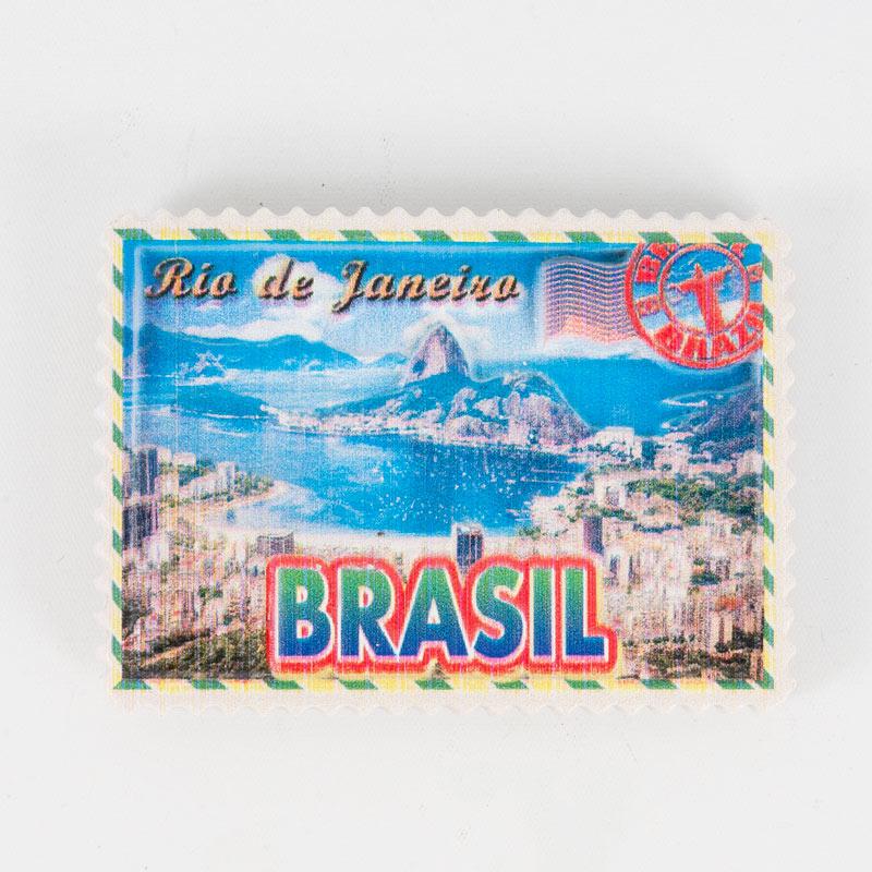 ブラジルマグネット リオデジャネイロ切手風デザイン スクエア