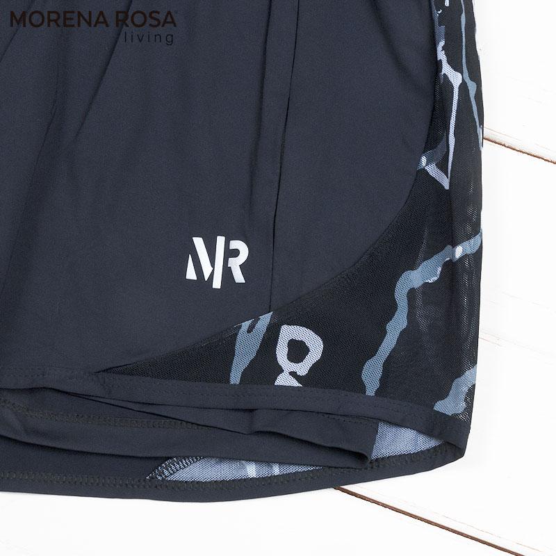 【Morena Rosa Living】ショートレギンス付きランニングショートパンツ ブラック
