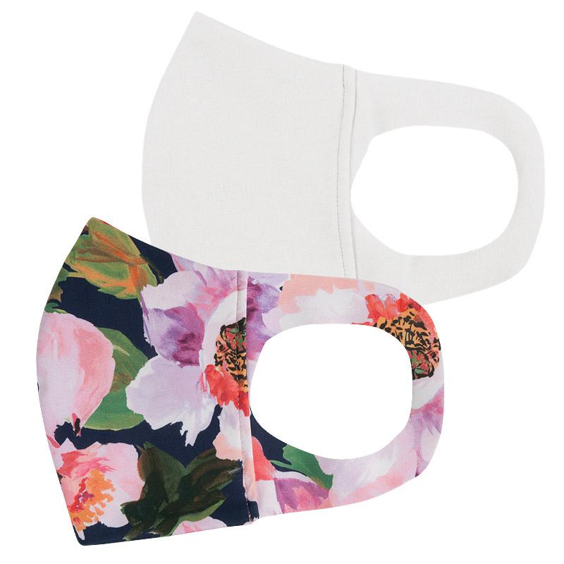 ファッションマスク【水着素材】白・花柄ネイビー 2枚セット