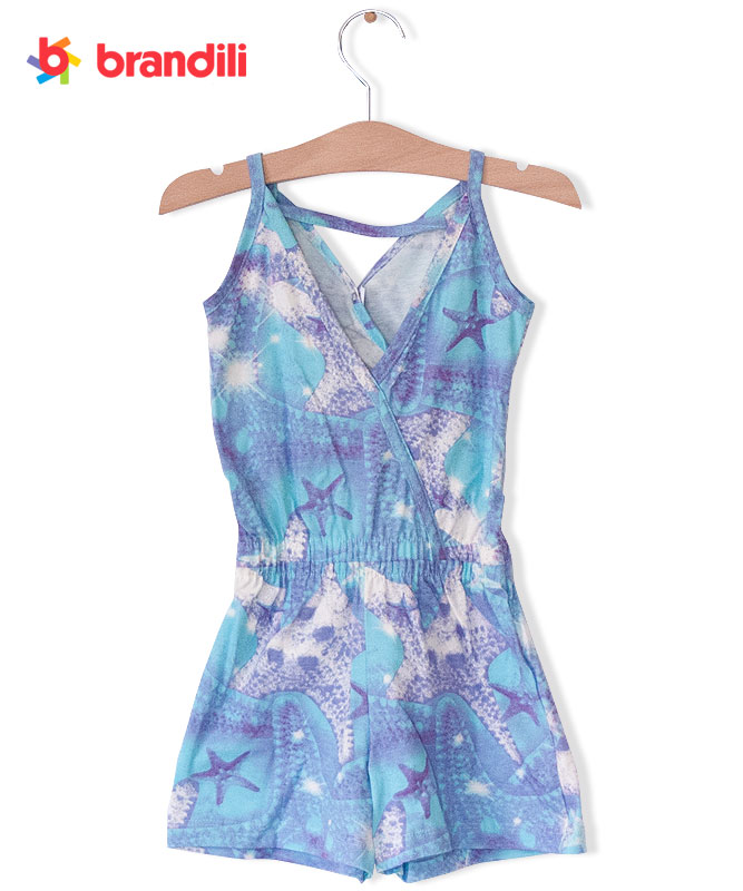 ■30%OFF■【BRANDILI】女の子キャミオールインワン【夏服・海リゾート】スターフィッシュ ブルー