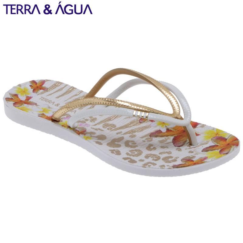 【TERRA&AGUA】花柄Wダブルストラップビーチサンダル|ホワイト×ゴールド
