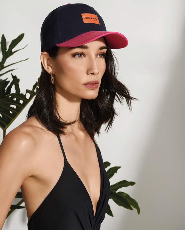 MORENA ROSA バイカラーカジュアルデニムキャップ モレナローザ帽子 ピンク×ネイビー