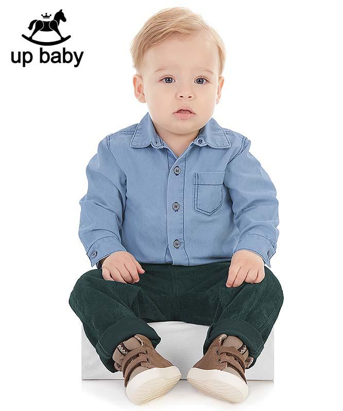 ■50%OFF■【UP BABY】男の子長袖デニムシャツ【おしゃれ・重ね着】ライトブルー