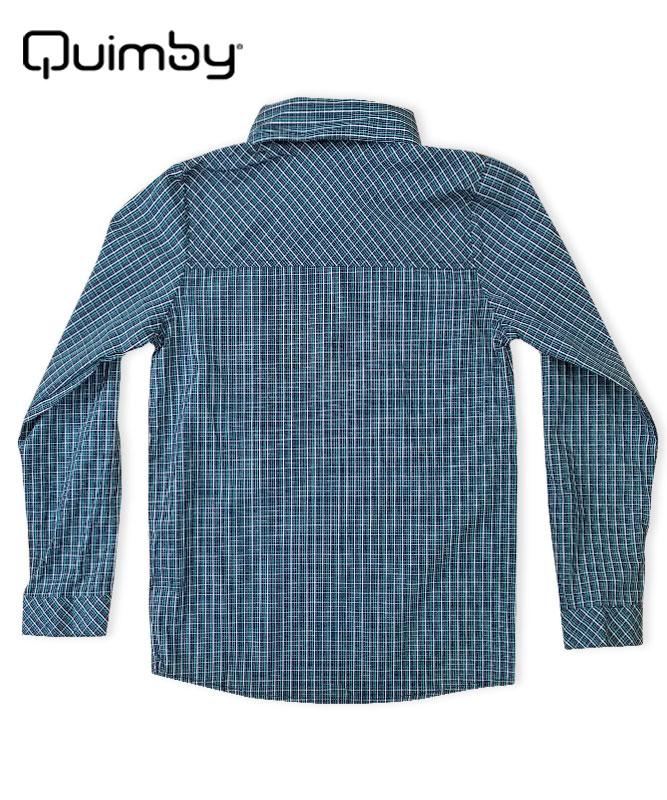 ■30%OFF■【QUIMBY】男の子長袖チェックシャツ【正統派・お出かけ着】ブルー