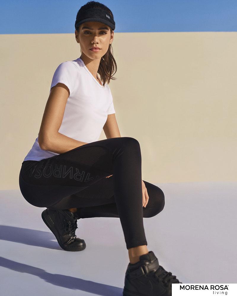 【Morena Rosa Living】サイドメッシュロゴレギンス ブラック ヨガ&トレーニングウェア