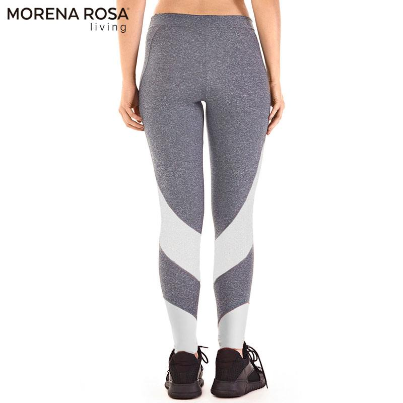 Morena Rosa Living レギンス トレーニングタイツ ミッドライズ | グレー×ホワイト