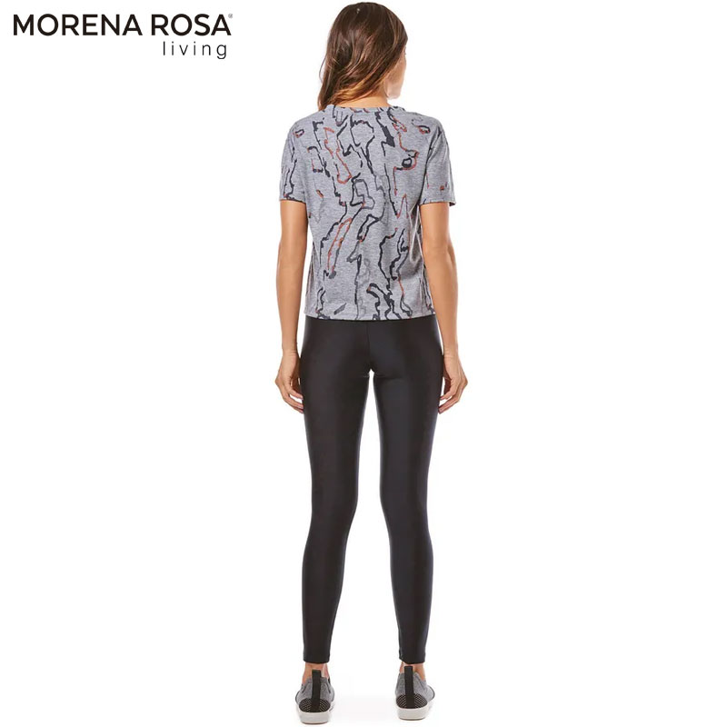 【Morena Rosa Living】グラフィックデザインフィットネスTシャツ グレー