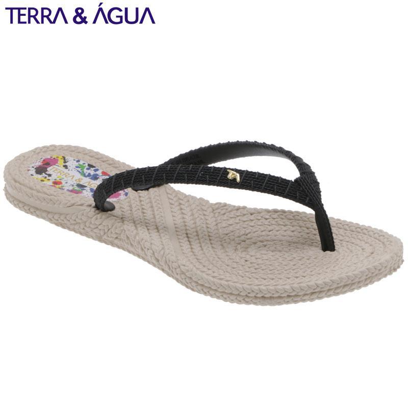 【TERRA&AGUA】バイカラーリゾートビーチサンダル|ベージュ×ブラック