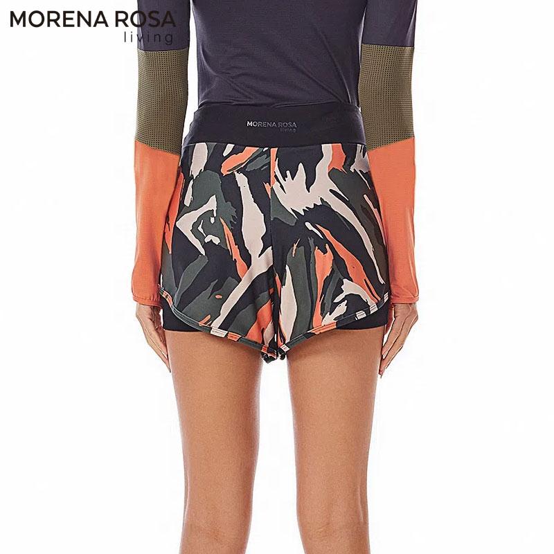 【Morena Rosa Living】ショート丈レギンス付きショートパンツ マルチ×ブラック ヨガ&トレーニングウェア
