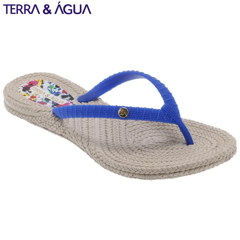 【TERRA&AGUA】バイカラーリゾートビーチサンダル|ベージュ×ブルー