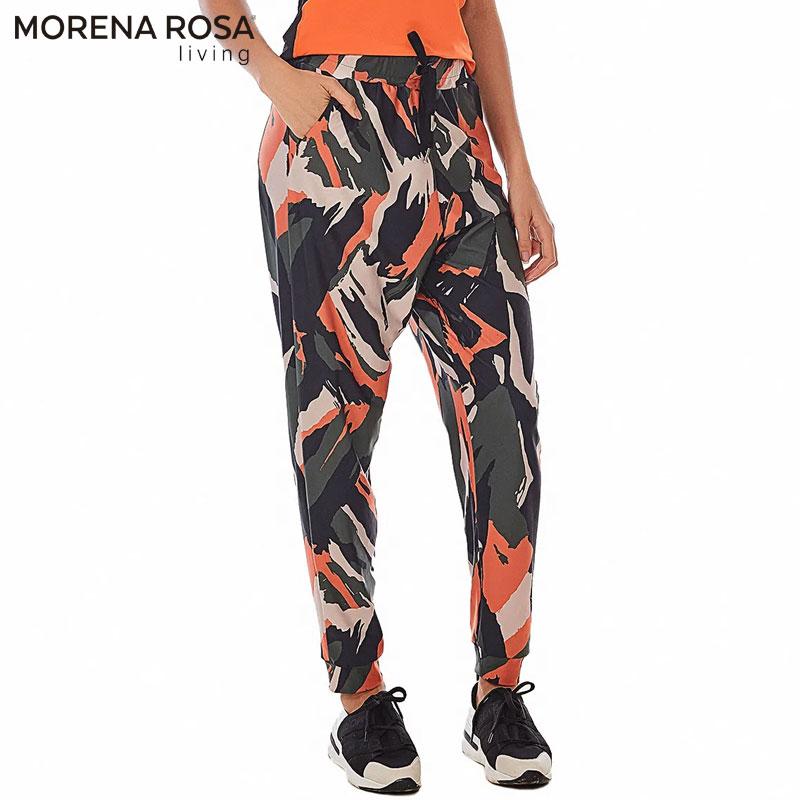 【Morena Rosa Living】リラックスジョガーパンツ ファスナー付きサイドポケット マルチ×ブラック ヨガ&トレーニングウェア