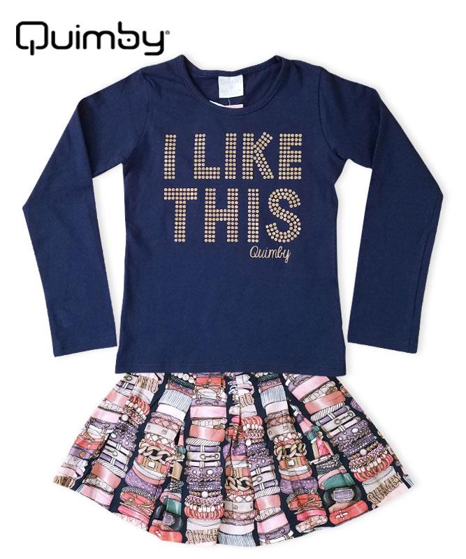■30%OFF■【QUIMBY】女の子長袖Tシャツ&バングル柄プリーツスカートセット【デイリー・おしゃれ】ネイビーマルチ