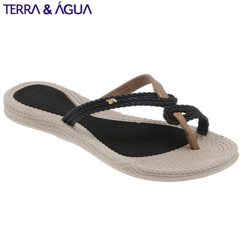 【TERRA&AGUA】デザインストラップビーチサンダル|ブラック