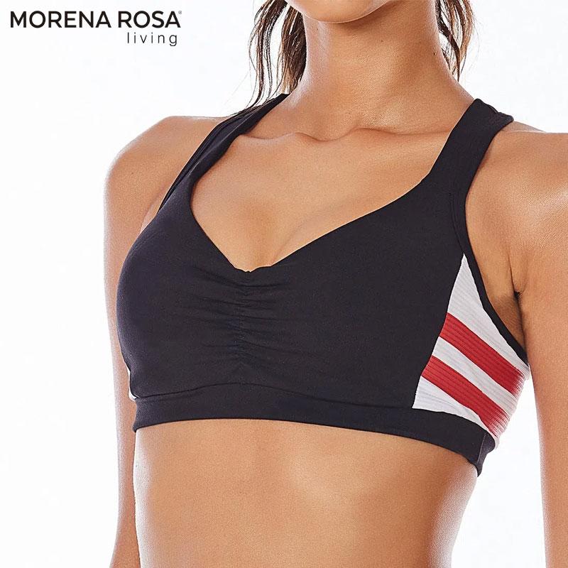 【Morena Rosa Living】サイドボーダー ブラトップ ブラック ヨガ&トレーニングウェア