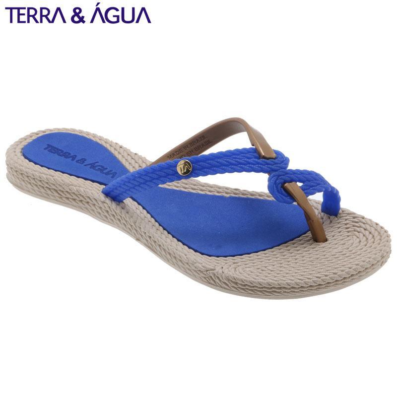 【TERRA&AGUA】デザインストラップビーチサンダル|ブルー