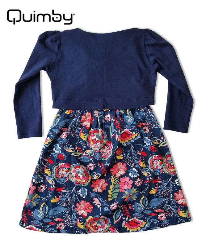 ■30% OFF■ 【QUIMBY】女の子ボレロ付きワンピース【花柄・おしゃれ】ネイビー