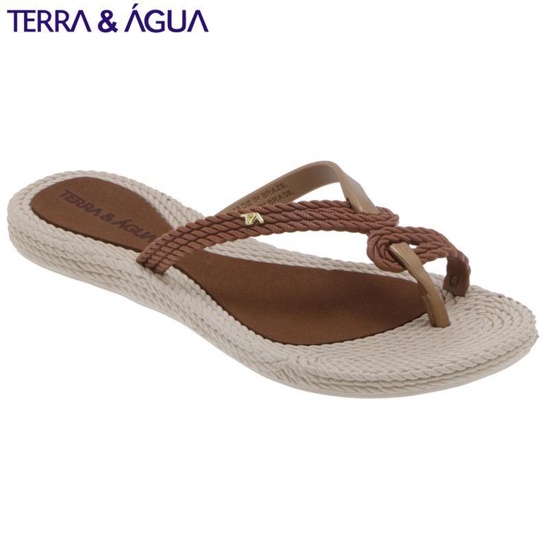 【TERRA&AGUA】デザインストラップビーチサンダル キャラメル