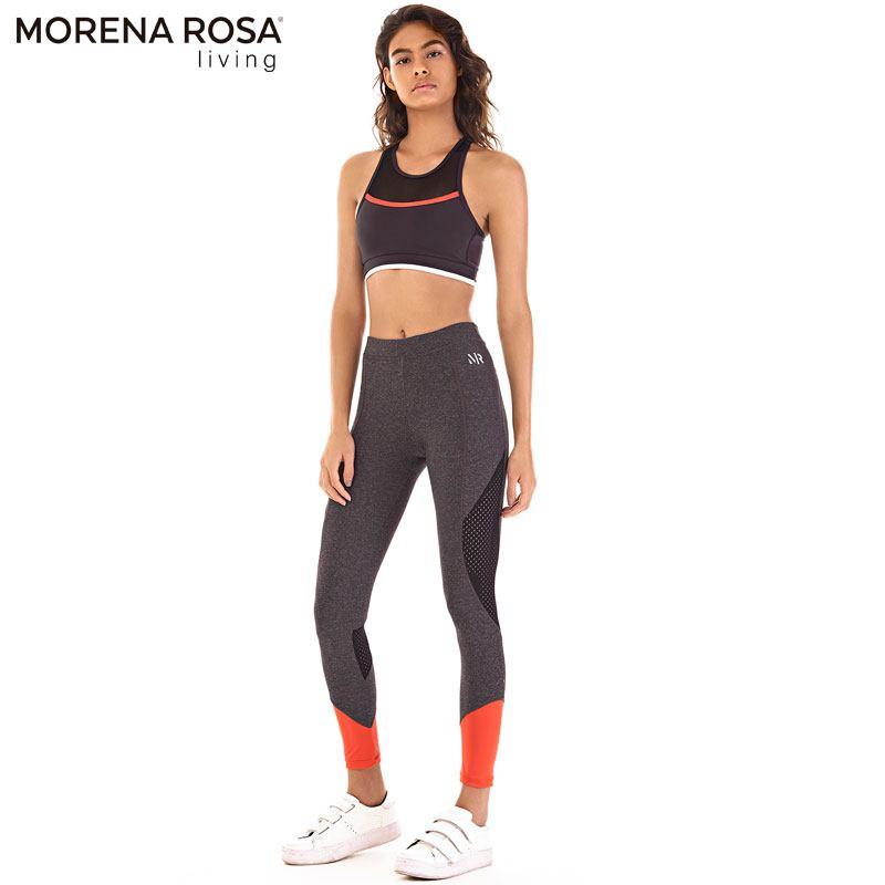 Morena Rosa Living クロップド トップス ハーフメッシュタンクトップ  | ブラック