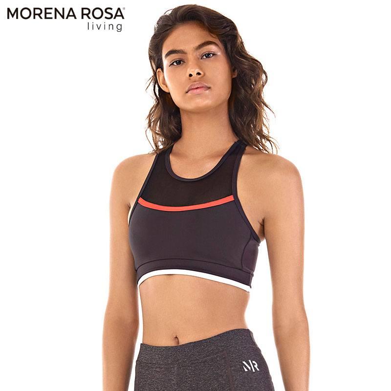■20%OFF■Morena Rosa Living クロップド トップス ハーフメッシュタンクトップ  | ブラック