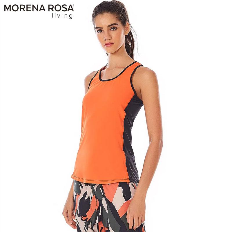 【Morena Rosa Living】バイカラーレーサーバック タンクトップ オレンジ×ブラック ヨガ&トレーニングウェア