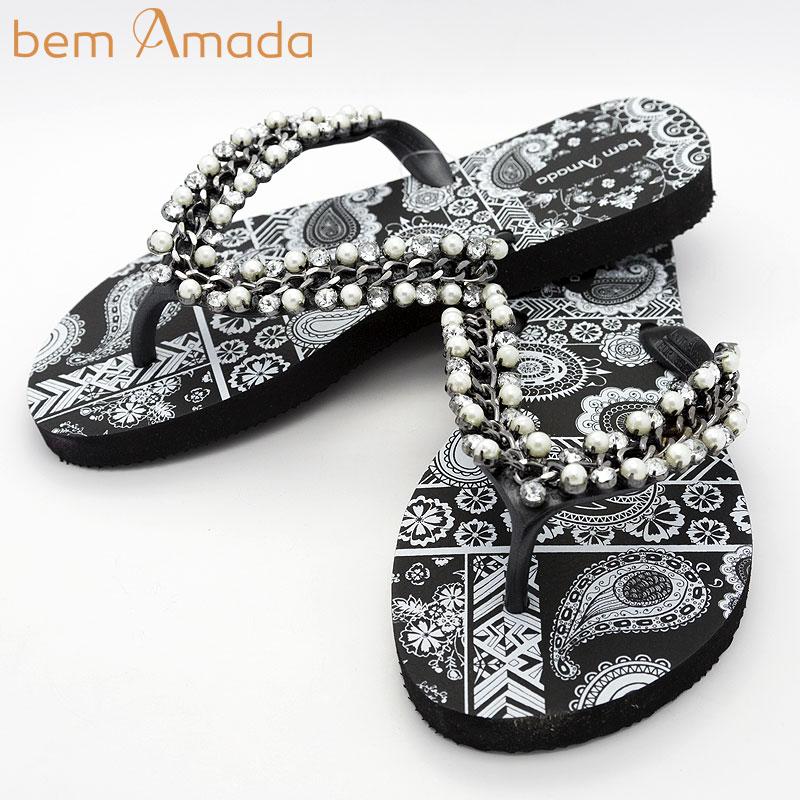 ■50%OFF■ビジュー付きビーチサンダル【bem Amada】ペイズリーZEN|ブラック