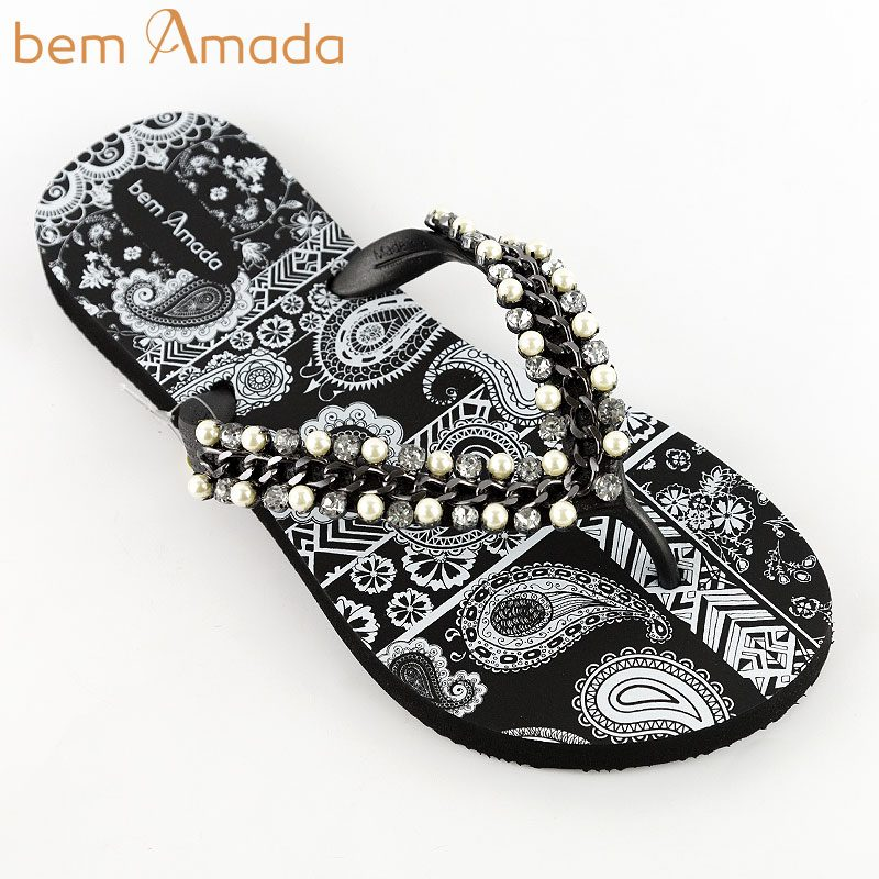 ■50%OFF■ビジュー付きビーチサンダル【bem Amada】ペイズリーZEN ブラック