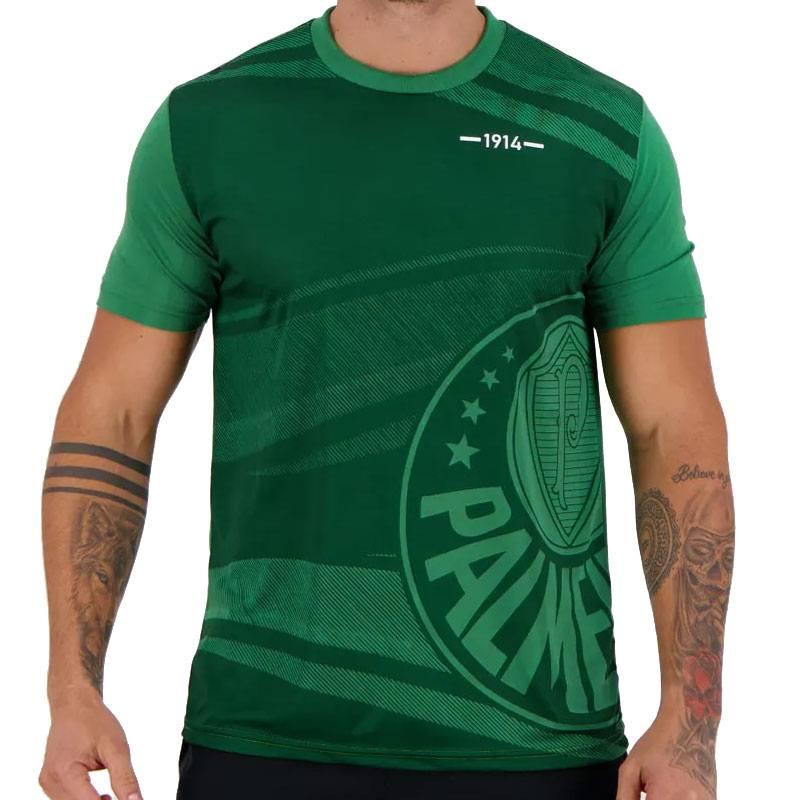 パルメイラス公式 エンブレムウェーブデザインTシャツ 1914【PALMEIRAS】グリーン