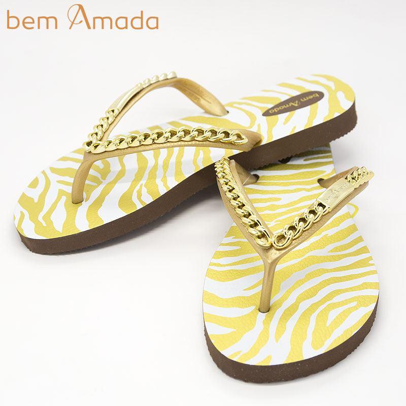 ■50%OFF■ビジュー付きビーチサンダル【bem Amada】ゼブラZEBRA DOURADO|ブラウン