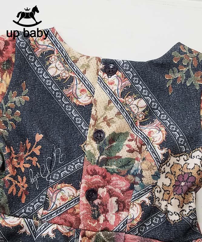 ■30%OFF■【UP BABY】女の子ベビー長袖ワンピース【ゴブラン柄・クラシカル】マルチ