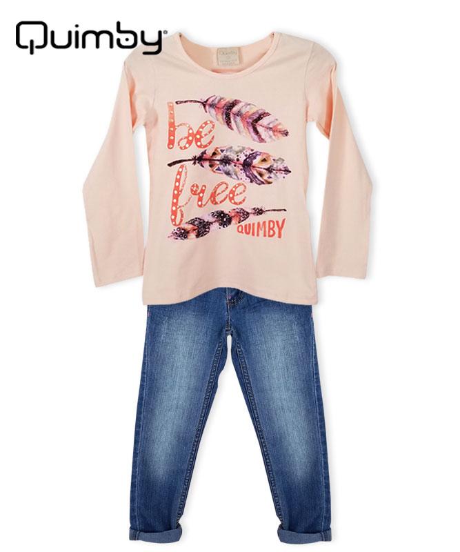■30%OFF■【QUIMBY】女の子長袖Tシャツ&フェザー刺繍入りデニムパンツセット【デイリー・おしゃれ】コーラルピンク