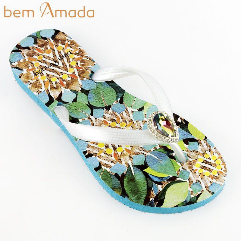 ■50%OFF■ビジュー付きビーチサンダル【bem Amada】ボタニカルFOLHAS METAL|アクアグリーン