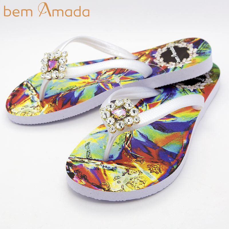 ■50%OFF■ビジュー付きビーチサンダル【bem Amada】クリスタルIRISADO|ホワイト