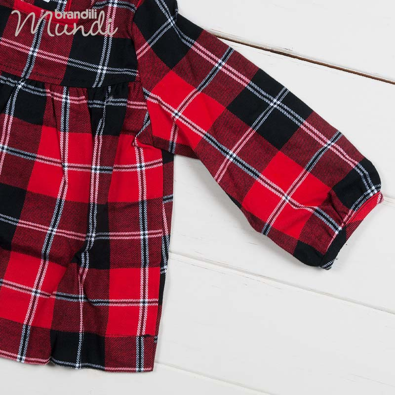 ■30%OFF■【BRANDILI MUNDI】女の子ベビー服 チェック柄ワンピース・もこふわベスト・レギンス3点セット レッドマルチ
