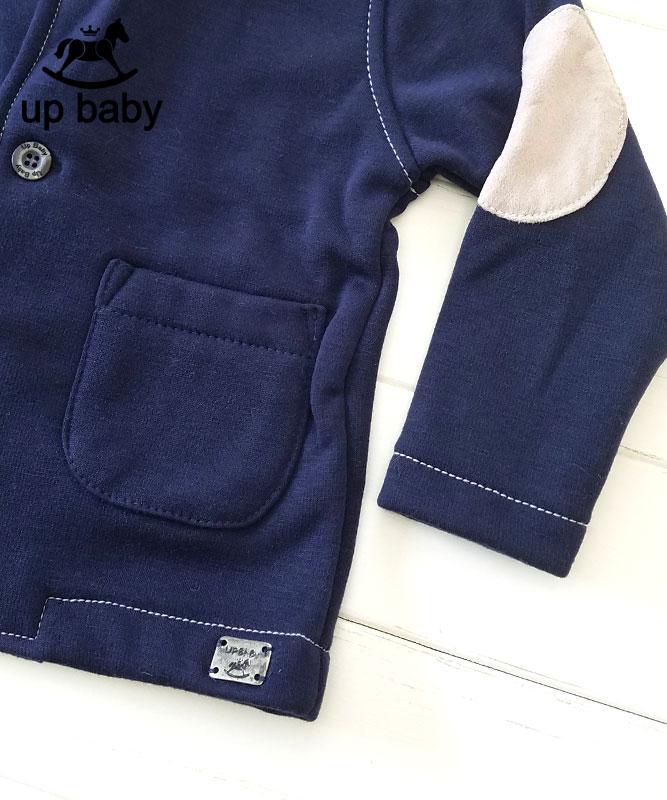 ■50%OFF■【UP BABY】男の子襟付きジャケット【おでかけ・あったか裏起毛】ネイビー