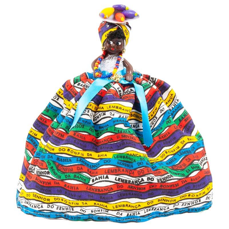 【バイアーナ人形】2wayブラジリアンドール ボンフィン柄 マルチ×ホワイト
