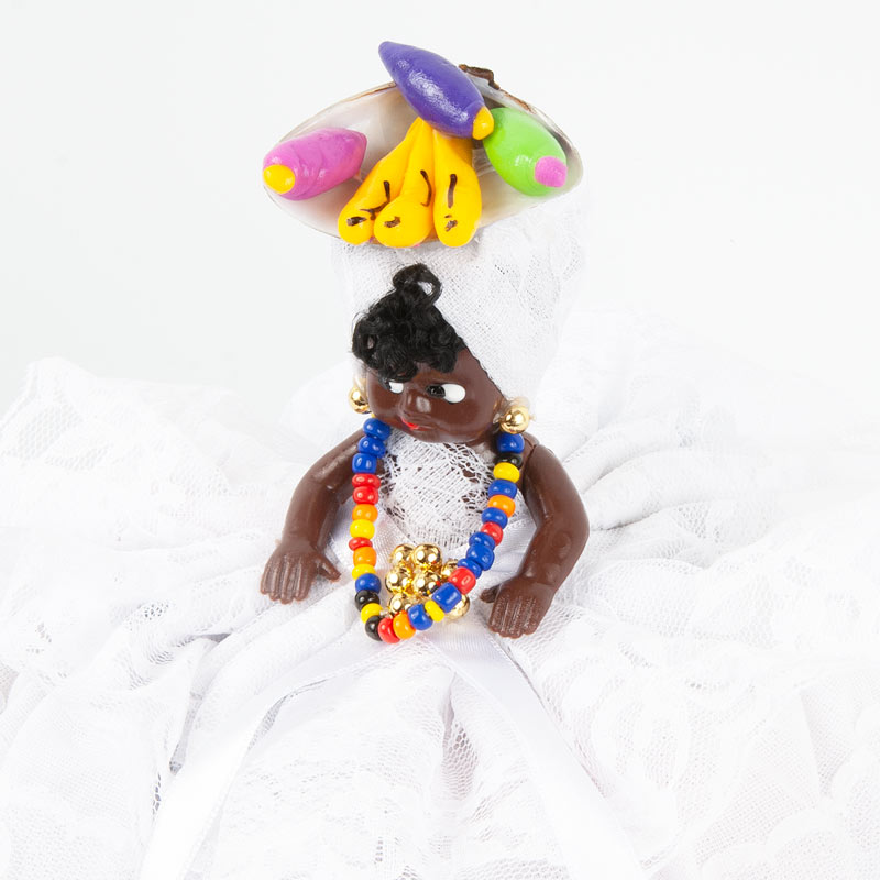 【バイアーナ人形】2wayブラジリアンドール トロピカル花柄B レッド×ホワイト