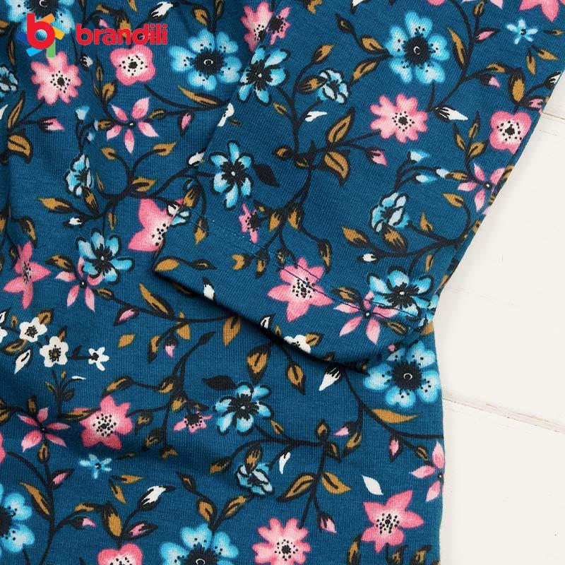 ■30%OFF■【BRANDILI】女の子ベビー服 小花柄ワンピース・レギンス上下セット ネイビー×コーラルピンク