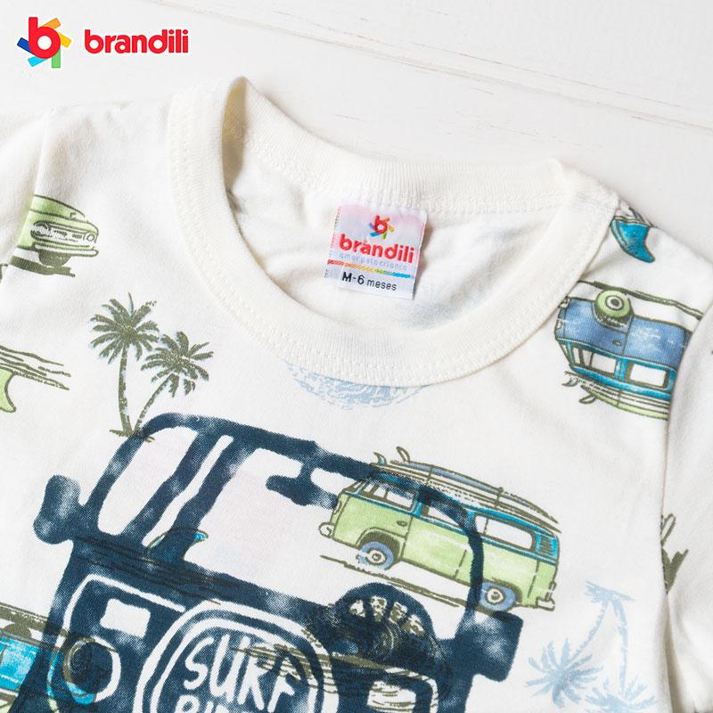 リゾートトリップ柄 Tシャツ&ハーフパンツセット 男の子【BRANDILI】オフホワイト×ピーコック