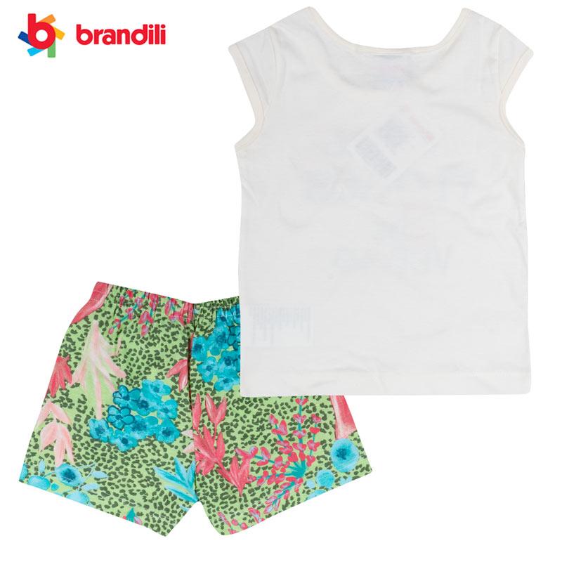 ジャングルのかわいい動物柄のTシャツ&ショートレギンスセット 女の子【BRANDILI】オフホワイト×グリーン
