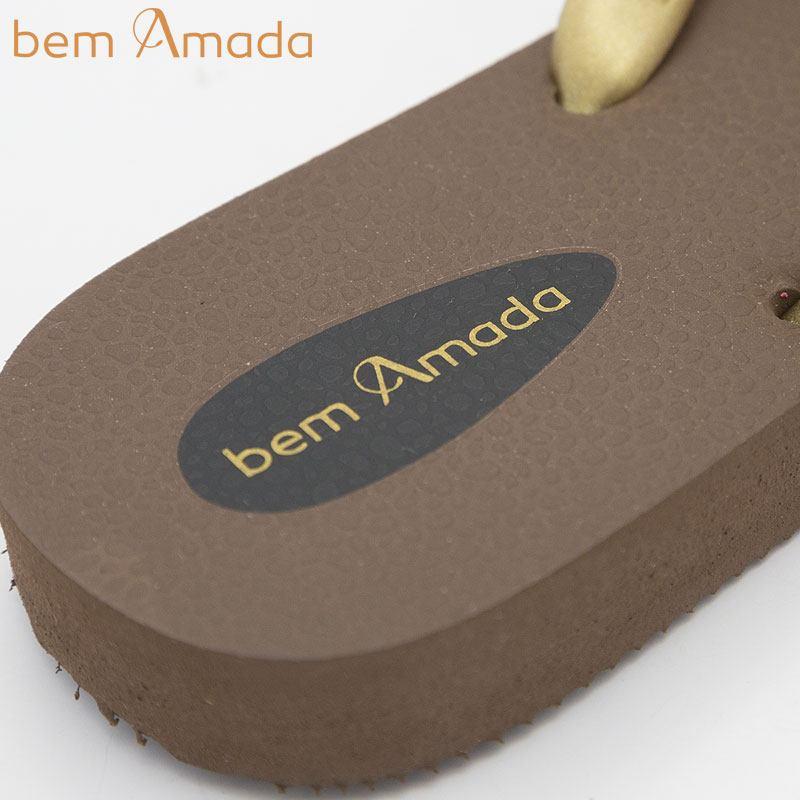 ■50%OFF■ビジュー付きビーチサンダル【bem Amada】ラテンLISA MARRON|ブラウン