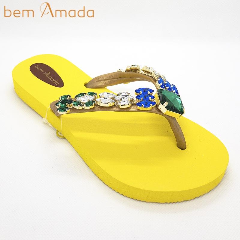 ■50%OFF■【bem Amada】ビジュー付きビーチサンダル【カラーストーン】|イエロー