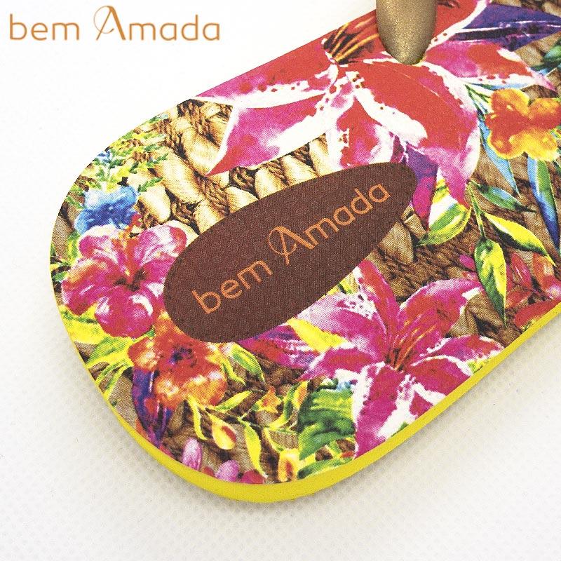 ■50%OFF■【bem Amada】ビジュー付きビーチサンダル【トロピカルフラワー】|イエロー