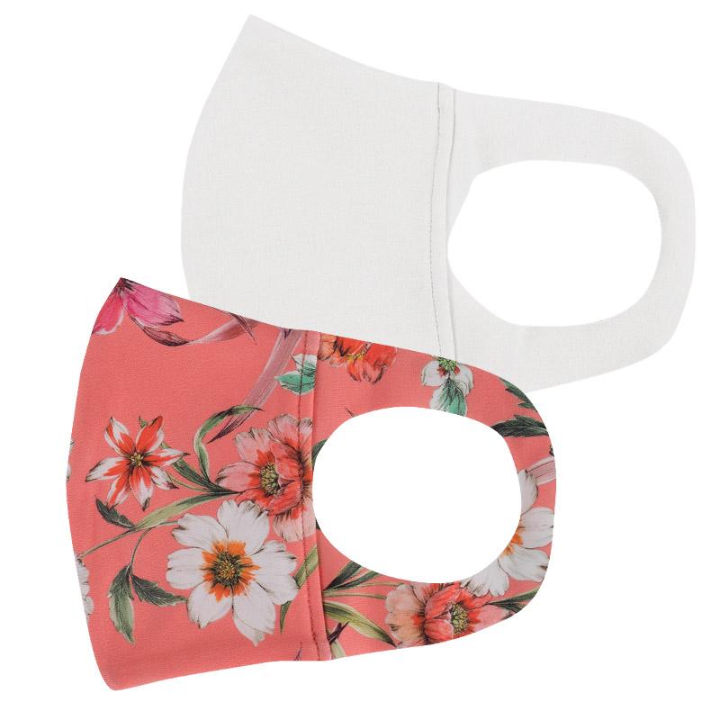 ファッションマスク【水着素材】白・小花柄 サーモンピンク 2枚セット